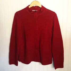 Coldwater Creek Red Mock Neck Zippered Cardigan